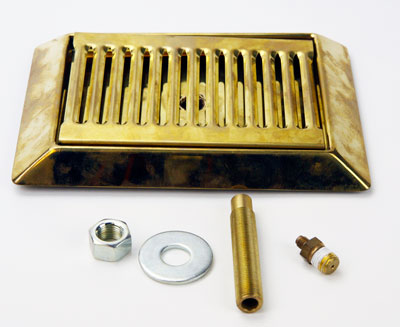 9 in Bevel Drip Tray: w/ Drain Brass (1)