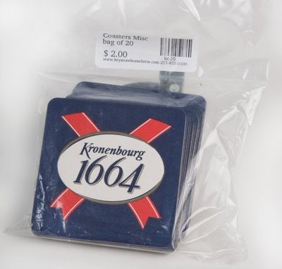 Sleeve of 100 :Kronenbourg coasters (1)