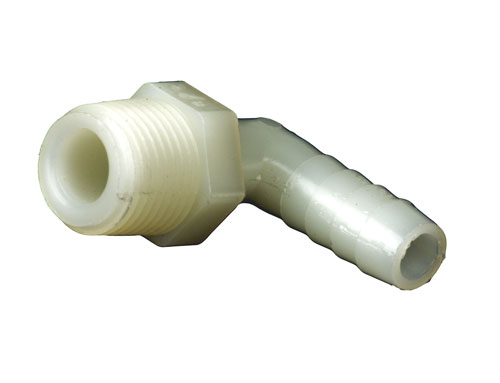 Nylon 3/8 MPT to: 3/8 90 Degree Barb (1)
